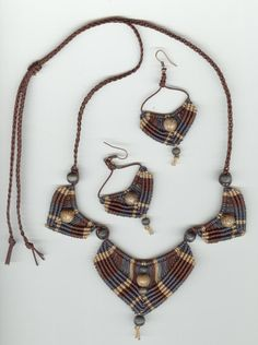 Necklace and Earrings Set, Micromacrame 20% off until May 1, 2016 Use coupon code CELEBRATE at checkout