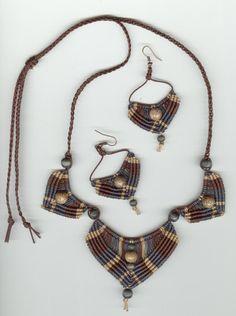 Necklace and Earrings Set Micromacrame 20% by MonkeyBiznessJewelry
