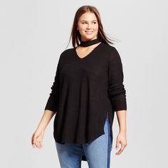 Women's Plus Size Choker Neckline Tunic Sweater - No Comment Black 1X