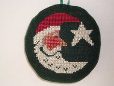 Vintage round Santa/moon Christmas ornament by CreationsbyDJ, $8.00