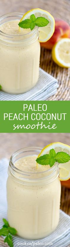 This paleo peach coconut smoothie is creamy, sweet and delicious without any dairy or added sugar. Fresh peaches make all the difference in this healthy breakfast recipe. ~ http://cookeatpaleo.com