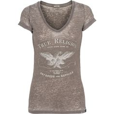 TRUE RELIGION Burnout Eagle V-Neck Dusty Olive Jersey t-shirt with... ($44) ❤ liked on Polyvore featuring tops, t-shirts, shirts, eagles t shirts, pattern t shirt, olive t shirt, brown t shirt and tee-shirt