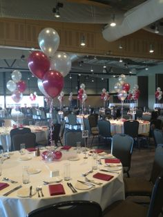 Lovely metallic burgundy and silver five balloon arrangements for a Year 12 formal @australianturfclub