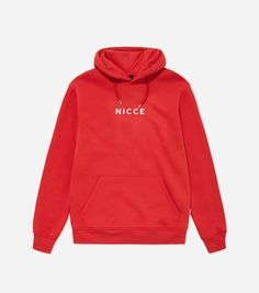 Nicce Crate Hoodie Crate overhead hood in red. Soft fleece-back fabric featuring a box style embroidered logo, hood with pull cords and front pouch. Chuck on for warmth with joggers or denim jeans. Trendy Hoodies, Red Hoodie, Womens Fashion Online, Playboy, Crates, Lounge Wear, Denim Jeans, Joggers, Man Shop