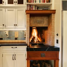 Built-in wood fireplace