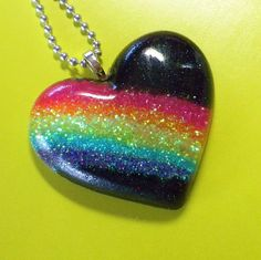 Over the Neon Rainbow in BLACK - resin pendant