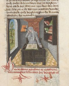 Miniature of Cornificia (Corinse) in her study, from a Flemish translation of Christine de Pizan's Cité des dames ('De Lof der Vrouwen'), Bruges, 1475. British Library Add MS 20698, f.70r