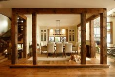 """Timberrrrrr...What an incredibly creative way to """"frame"""" the Dining Room....... The Cottage - rustic - dining room - toronto - Parkyn Design"""