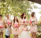 Lace Blush Bridesmaid Dresses with Pink Peony Stems - Wendy Schultz via 100 Layer Cake onto Bridal Parties.