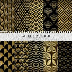 Art Deco Digital Paper Collection Volume II Black/Gold - 10 Great Gatsby Patterns Digital Layouts - (300dpi 12x12 - JPG) Instant Download