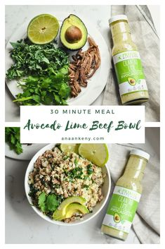 Cajun Delicacies Is A Lot More Than Just Yet Another Food Avocado Lime Beef Bowl With Kale Has All The Flavors You Want. Smooth Avocado, Lime, And Cilantro Mix With Beef And Cauliflower Rice To Have A Quick 30 Minute Recipe For Any Quick Lunch. Clean Eating Recipes, Lunch Recipes, Paleo Recipes, Healthy Dinner Recipes, Real Food Recipes, Healthy Food, Lamb Recipes, Lunch Snacks, Paleo Dinner