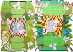 """Sarajo Frieden untitled (518)  Acrylic on paper, with painted cut paper collage 29.5""""h x 41""""w (diptych)"""