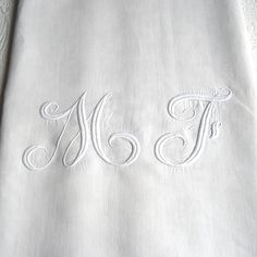 Your place to buy and sell all things handmade Greige, Linen Sheets, Satin Stitch, French Antiques, Hand Stitching, Initials, Monogram, Pure Products, How To Plan
