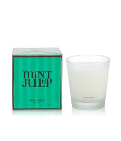 MINT JULEP SIGNATURE 9.4 OZ CANDLE  The official beverage of the Kentucky Derby, Mint Julep is a refreshing blend of eucalyptus, green tea, bergamot and cassis. Crisp and clean, this sparkling scent is sure to stimulate your senses. Cheers!  $30.00