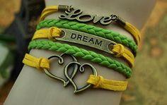 Dream bracelet Love bracelet Double hearts by SummerWishes on Etsy