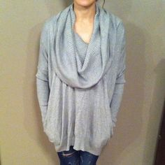 "Flash sale HP12/11Victoria Secret Sweater Gray soft, stretchy, cozy Multi way sweater. Can be cowl neck, one shoulder, or off both shoulders. Excellent condition. Looks hi-lo hemmed but it's not when it's worn like a cowl. Cowl is ribbed & so is the hem and 3/4 of the sleeves. Very oversized and comfy. Hidden Pockets in the front. Measurements are taken w/item laying down flat & are approximate but I try my best. Length (shoulder to hem) 28.2"", width 22"", sleeve length 21.5"". Machine…"