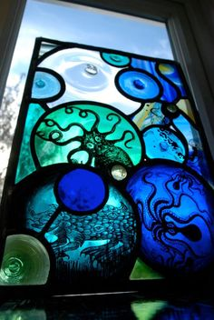 would be cool in a bathroom Octopus's Garden Stained Glass Panel by HaltGlass…