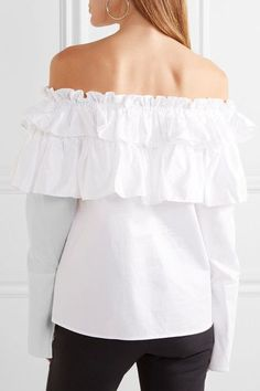 Opening Ceremony - Mercer Ruffled Off-the-shoulder Stretch Cotton-poplin Top - White - US8