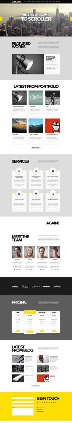 Scroller - Parallax, Scroll & Responsive Theme by WordPress Awards , via Behance