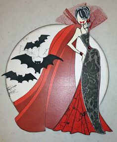 Victoria the Vampire. Created with Prima doll stamps for Treasured Memories, Lafayette, La