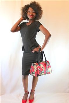 Mikarose Black Peplum Dress $70.00 at www.voovoodress.com #dress #handbag #pinup