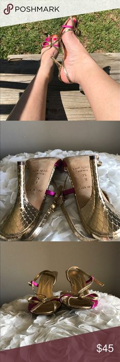 🔥KATE SPADE ♠️ gold/magenta sandals Gorgeous with any outfit. Good used condition. No trades!!! kate spade Shoes Sandals