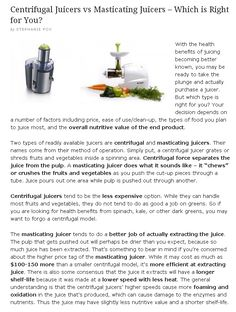 Centrifugal Juicers vs Masticating Juicers - Which is Right for You? Blender Recipes, Juice Recipes, Raw Food Recipes, Foods For Liver Health, Health Tips, Juice Smoothie, Smoothies, Centrifugal Juicer, Best Juicer
