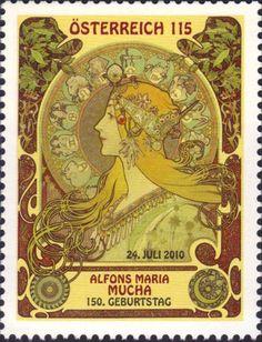 Postzegel: Alfons Maria Mucha (Oostenrijk) (Kunst) Mi:AT 2884,Yt:AT 2712,WAD:AT038.10