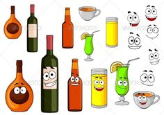 Cartoon Beverages  ...  alcohol, banner, bar, beer, beverage, bottle, cafe, cartoon, character, cocktail, coffee, decoration, drink, food, funny, illustration, isolated, juice, liqueur, menu, object, party, restaurant, silhouette, smile, symbol, tea, template, wine, wineglass