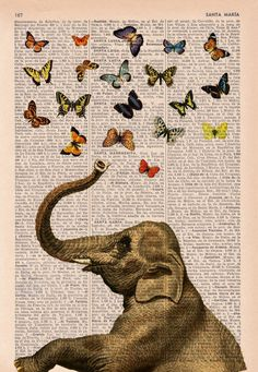 Elephant in love counting butterflies book print - Elephant in love - collage Printed on vintage dictionary book page. $7.99, via Etsy.