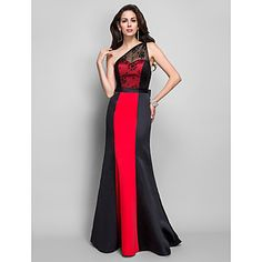 Formal Evening/Military Ball Dress Sheath/Column One Shoulder Floor-length Satin/Lace Dress – EUR € 99.99