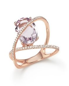 Amethyst and Diamond Statement Ring in 14K Rose Gold   Bloomingdale's