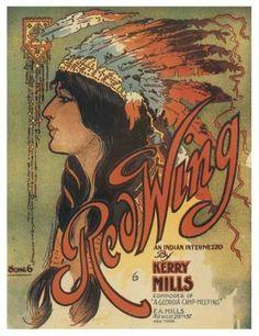 Vintage Sheet Music - Red Wing  Indian headdress