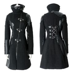 Alternative Black Cyber Punk Goth Long Jacket Description: Specially crafted patchwork accented with frills. Symbolic locks, keys and chains. Fit cut. Unisex. High quality! Matching sweaters, pants, boots, jewelry, bags, accessories, etc. to complement the overall look sell in our other product categories.