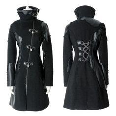 Alternative Black Cyber Punk Goth Long Jackets Coats Men Women Clothing