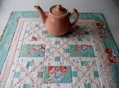 Irish Chain Quilted Table Topper Cottage Chic Mint Green and Peach.  via Etsy.