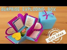 How to make Explosion box / DIY Valentines Day Explosion Box /Explosion Box Tutorial Diy Gift Box, Diy Box, Diy Gifts, Gift Surprise, Surprise Ideas, Diy Photo Album Gift, Birthday Explosion Box, Explosion Box Tutorial, Exploding Gift Box