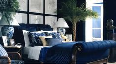 Ralph Lauren Home Le Grande Hotel Collection French Nautical Seaside Ocean Beach House Style Blue and White