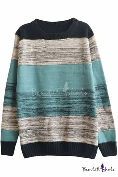 Color Block Stripe Print Round Neck Long Sleeve Sweater - Beautifulhalo.com
