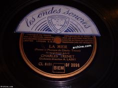 French 78 tours (78 RPM) CHARLES TRENET la mer / COLUMBIA DF 3096