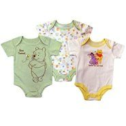 Disney Baby Newborn Bodysuits 3pk Winnie the Pooh Short Sleeve Snap Closure Multicolored. yes please