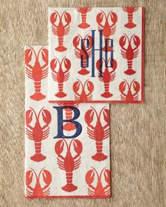 Lobster Cocktail Napkins & Guest Towels by Caspari at Horchow~could pass for a South Louisiana crawfish ; Lobster Party, Lobster Fest, Crab And Lobster, Lobster Bake, Lobster Dinner, Rock Lobster, Seafood Dinner, Crawfish Party, Monogrammed Napkins