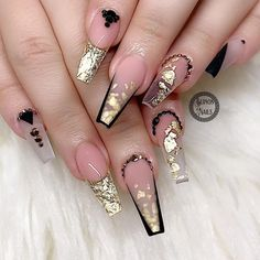 with ・・・ Vacation Nails for my client Turn on. Bling Acrylic Nails, Best Acrylic Nails, Bling Nails, Gold Nails, Sparkle Nails, Shellac Nails, Nail Manicure, Fabulous Nails, Perfect Nails