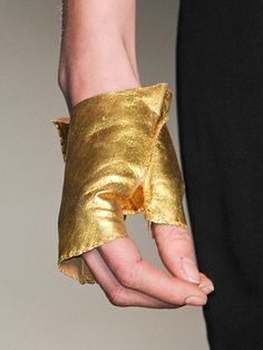 Gold Fingerless Gloves