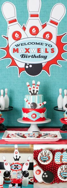 A Boy's Retro Bowling Themed Birthday Party, Great Idea For A Boy Pin Now From Spaceships And Laser Beams!