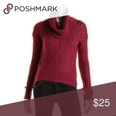 *GIFT* Bordeaux Cable Knit Cowl Sweater NWT M GIFT  MAKES AN A*M*A*Z*I*N*G GIFT   Gorgeous sweater in the rich color of Bordeaux. Crop length. Cowlneck. NWT Junior Medium.  BUY 3 or More and Get 20% OFF! Oh MG! Sweaters Cowl & Turtlenecks