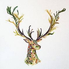 Artist Helen Ahpornsiri (previously) continues to explore the possibilities of pressed plantlife in her ongoing series of wildlife illustrations that depict insects, animals, and other creatures. The England-based artist has recently begun experimenting with gold leaf that she applies to ferns a