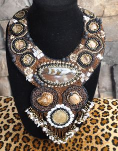 Bronze and black beaded collar with natural fossil stones, jasper, tortoise shell and seed beads.