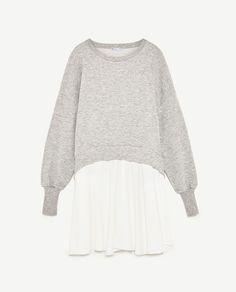 Image 8 of PLUSH SWEATSHIRT WITH CONTRAST POPLIN from Zara