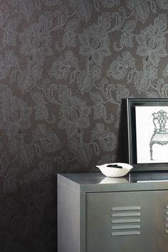 Collection :B&W Dentelle #Papierpeint #decoration #interieur #blackandwhite #noiretblanc #Caselio  http://www.caselio.fr